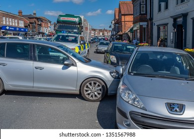 Marlborough, Wiltshire, UK, March, 24, 2019: A close up of a runaway car that has blocked the one way system in Marlborough town centre on a busy Sunday afternoon