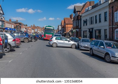 Marlborough, Wiltshire, UK, March, 24, 2019: A runaway car blocks the one way system in Marlborough town centre on a busy Sunday afternoon