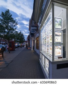 Marlow, UK. 29th April 2017. Marlow HIgh Street has many shops, restaurants and real estate agencies, seen here at twilight.