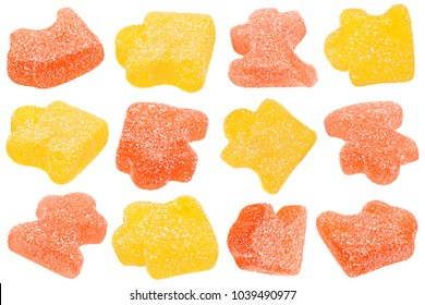Marmalade jelly candy as pazzles shape isolated on white