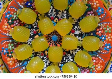 Marmalade on orange juice and agar agar