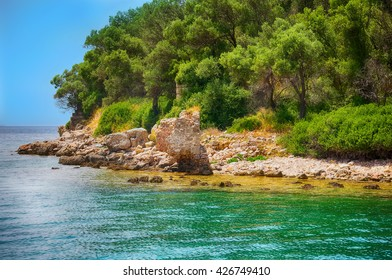 Marmaris beach beautiful blue sea on mountains background, Sedir Adasi beach, the Mediterranean sea
