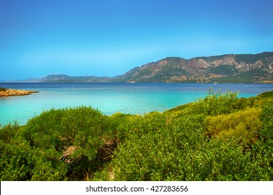 Marmaris beach beautiful blue sea on mountains background, turkish resort beach, the Mediterranean sea