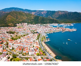 Marmaris city aerial panoramic view in Marmaris city in Turkey