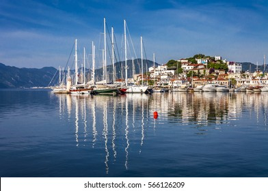 Marmaris Marina view in blue day in Turkey