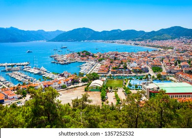 Marmaris marina with yachts aerial panoramic view in Turkey