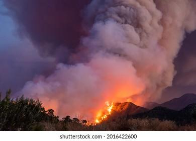Marmaris, Mugla, Turkey – July 29, 2021. Forest fire near Marmaris resort town of Turkey.