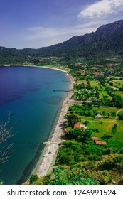 Marmaris, Mugla, Turkey. Kumlubuk beach and village landscape from Amos Ancient city. Beauty in nature.