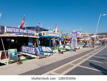 Marmaris, Turkey - 06.23.2018: Private boats for diving at the waterfront of Marmaris