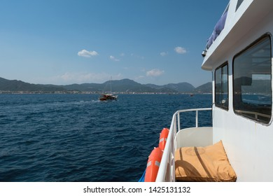 Marmaris, Turkey - 06.23.2018: View of the city of Marmaris from the boat from the sea