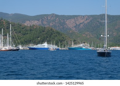 Marmaris, Turkey - 06.23.2018: Yachts in the sea bay near Marmaris