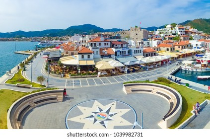 Marmaris, Turkey - April 14, 2016: Aerial view of seafront Barbados Cd. with restaurants, cafes and Castle in resort city Marmaris, Turkey
