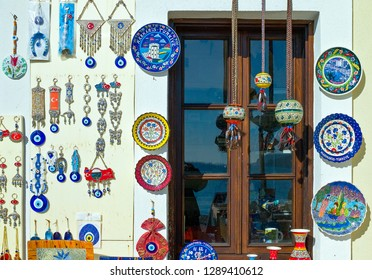 Marmaris, Turkey - December 14, 2007: A craft shop in the old town