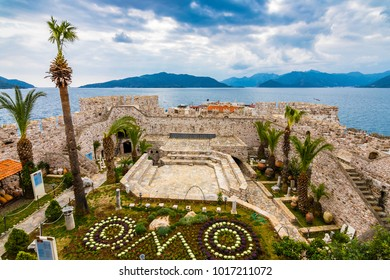 Marmaris, Turkey - February 03, 2018 : Marmaris Castle interior view in Marmaris Town. Marmaris Castle is populer tourist attraction in Turkey.