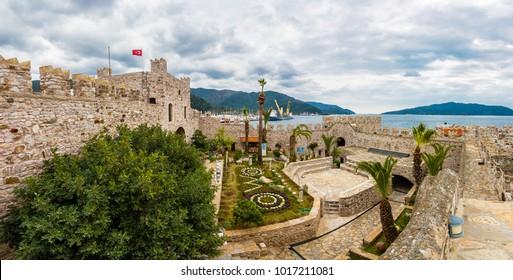 Marmaris, Turkey - February 03, 2018 : Marmaris Castle interior view in Marmaris Town. Marmaris Castle is populer tourist attraction in Turkey.
