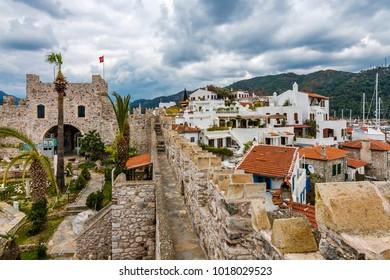 Marmaris, Turkey - February 03, 2018 : Marmaris Castle amd old town view in Marmaris Town. Marmaris Castle is populer tourist attraction in Turkey.
