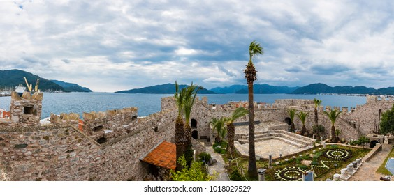 Marmaris, Turkey - February 03, 2018 : Marmaris Castle amd old town view in Marmaris Town. Marmaris Castle is populer tourist attraction in Turkey.