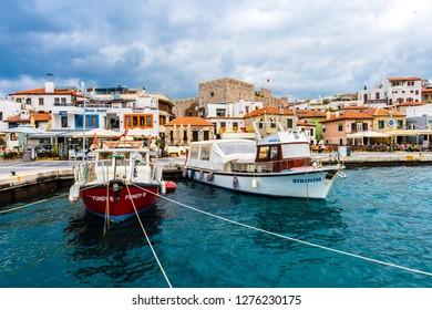 Marmaris, Turkey - February 03, 2018 : Street view from sea in Marmaris Town. Marmaris is populer tourist destination in Turkey.