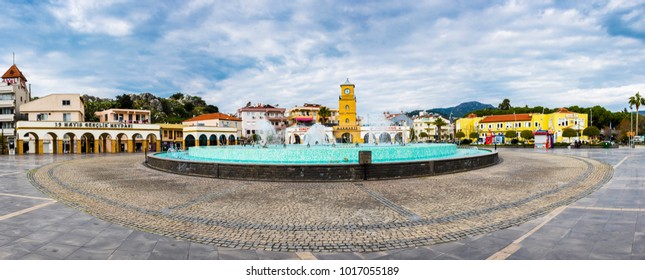 Marmaris, Turkey - February 04, 2018 : 19 May Youth Square view in Marmaris Town. Marmaris is populer tourist destination in Turkey.