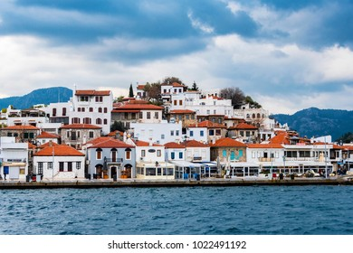 Marmaris, Turkey - February 05, 2018 : Marina view from sea in Marmaris Town. Marmaris is populer tourist attraction in Turkey.