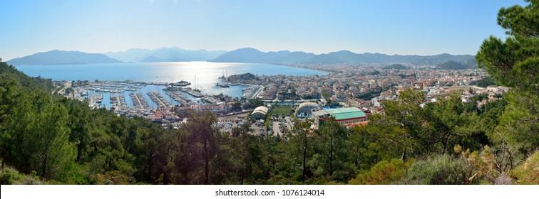 Marmaris, Turkey - February 17, 2018. View over Marmaris resort town in Turkey.