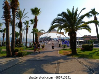 MARMARIS - TURKEY - JULY 2017: Wacking route at Netsel Marina shopping mall, constructed in close connection to yachts, port, restaurants and tourists relaxation area