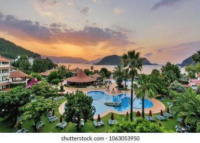 Marmaris, Turkey - July 27, 2016: MARTI Resort Hotel. Sea view