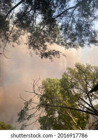 Marmaris, Turkey: July 29, 2021: Smoke from the forest fire covers the sky.