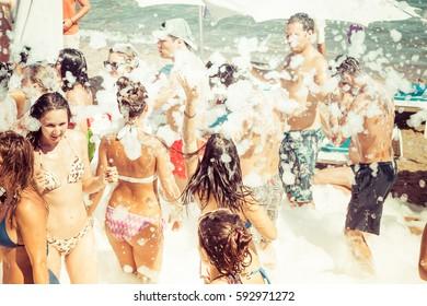 Marmaris, Turkey - July,20th, 2015 - foam beach summer party marmaris turkey