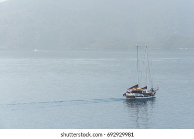 MARMARIS, TURKEY – May 31, 2013: Pleasure yacht in the marina of the resort of Marmaris.