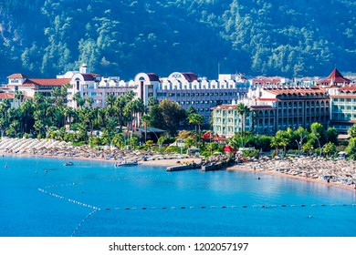 Marmaris, Turkey - October 08, 2018 : Icmeler Beach view in Marmaris Town. Marmaris İs populer tourist destination in Turkey.
