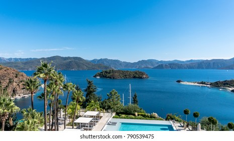 Marmaris, Turkey - October 2016: Beautiful Bay view in Marmaris, Turkey