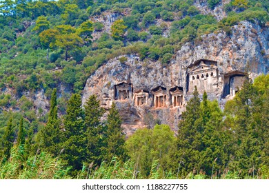 MARMARIS, TURKEY - Sepbember 2014:  The Lycian tombs on the Dalyan River near Marmaris, Turkey