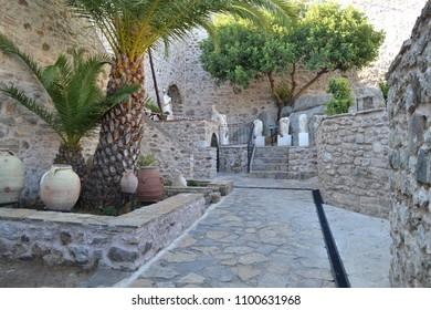 MARMARIS, TURKEY - September 2014: Marmaris castle, Marmaris museum, ancient amphoras, Marmaris, Turkey