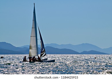 MARMARIS, TURKEY - September 2014: The catamaran sailing sport in the Mediterranean sea among the islands near Marmaris, Turkey