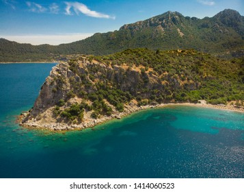 Marmaris/Amos Bay and Kumlubuk aerial view aegean and mediterranean sea peninsula turquoise paradise in Marmaris/Mugla - Turkey.  Beauty in natüre. mountain landscape from Amos Ancient city in summer.