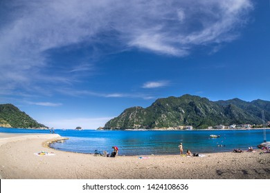 Marmaris.Ichmeler. Turkey. May 26, 2019; Marmaris bay landscape from Icmeler Beach, Turkey. Holiday, tourism and summer background.