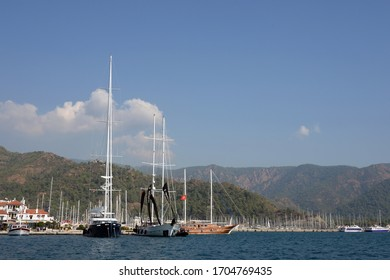 MARMARIS,TURKEY - OCTOBER 30, 2019:Sea vessels at the waterfront of the Turkish city of Marmaris