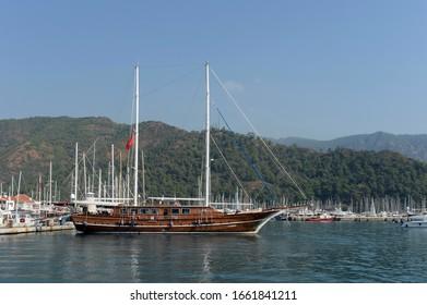 MARMARIS,TURKEY - OCTOBER 30, 2019:Turkish gulet ship at the pier of the Turkish city of Marmaris