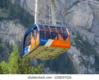 Marmolada, Dolomites, Italy. August 20, 2018. The first section of the cableway leading to the Marmolada glacier