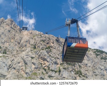 Marmolada, Dolomites, Italy. The first section of the cableway leading to the Marmolada glacier