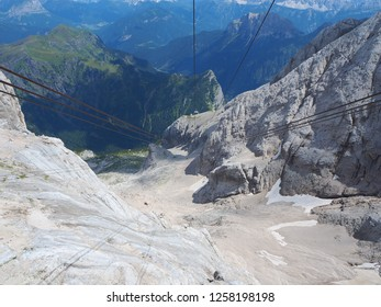 Marmolada, Dolomites, Italy. The second section of the cableway leading to the Marmolada glacier