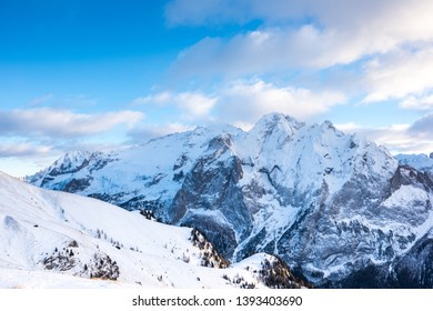 Marmolada glacier from Belvedere, Canazei, Italy, Europe