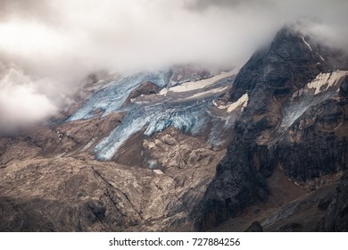 Marmolada glacier in the Dolomites, Alps, Italy
