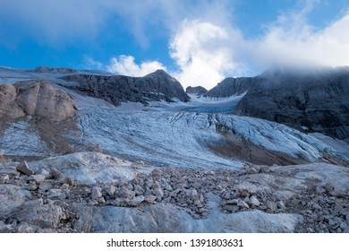 Marmolada glacier, dolomites, Italy, 2016, disapearing by global warming