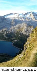 Marmolada Glacier and Fedaia Lake. Dolomiti, Itay. Alps.