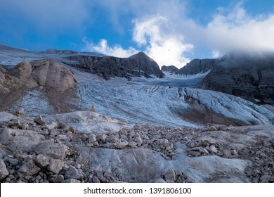 Marmolada glacier, Italy, 2016, disappearing by global warming
