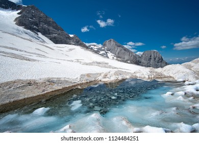Marmolada Glacier in summer
