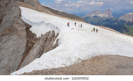 Marmolada, Italy. August 20, 2018. Landscape to the glacier during the summer time