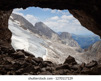 Marmolada, Italy. Landscape at the plateau and its glacier from the trenches of the First World War